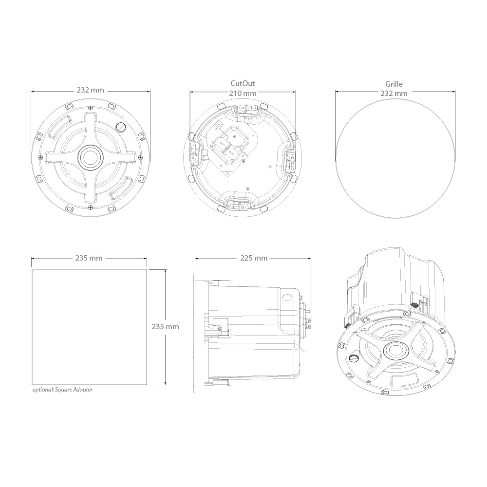 100 volt    commercial    einbaulautsprecher    sonance    inceiling    ps-c63rt